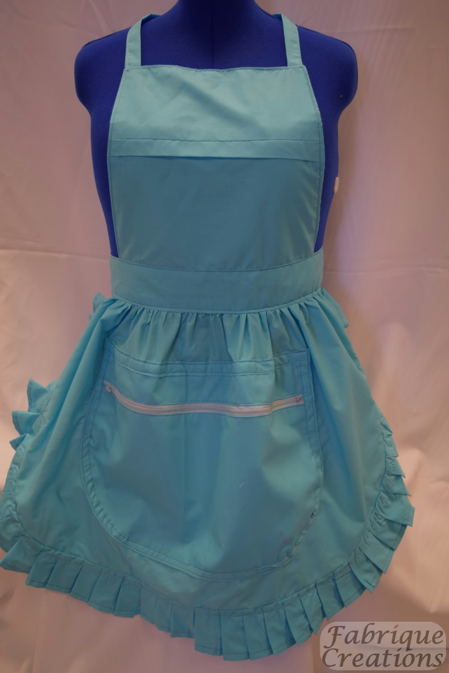Vintage 50s Style Full Apron Pinny with Large Zipped Pocket - Turquoise
