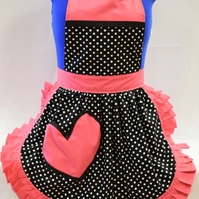 Vintage 50s Style Full Apron - Valentines Black & White Polka Dot with Pink Trim