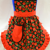 50s Style Full Apron - Nutex - Red Roses (Stems) on Black with Red Trim