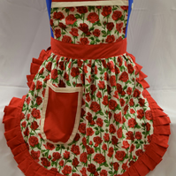 50s Style Full Apron - Nutex - Red Roses (Stems) on Cream with Red Trim