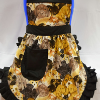 50s Style Full Apron - Puppy Love with Black Trim