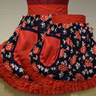 Mum & Daughter Matching Set - Retro Vintage 50s Style Half Aprons - Navy & Red