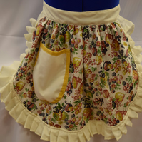 Vintage 50s Style Half Apron Pinny - Summer Fruits on Cream