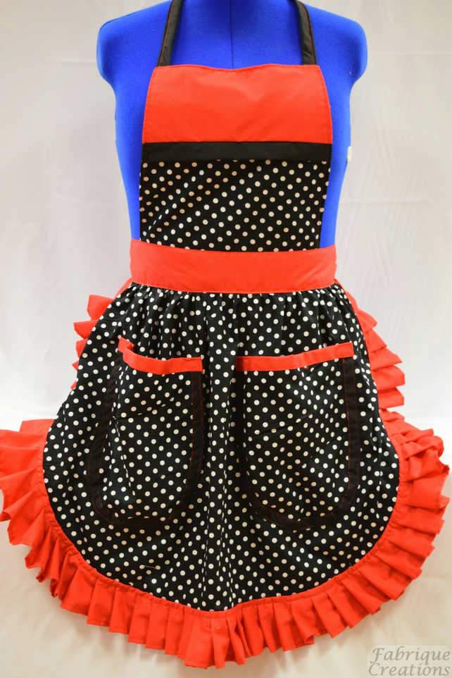 Vintage 50s Style Full Apron - Black & White Polka Dot with Red Trim & 2 Pockets