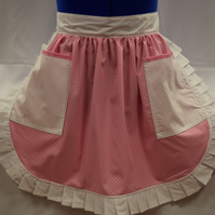 Vintage 50s Style Half Apron Pinny - Pink & White Polka Dot with 2 Pockets