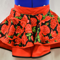 Retro Vintage Style Half Apron - Nutex Red Roses On Black With Red - 2 Layer