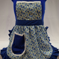 Vintage 50s Style Full Apron Pinny - Blue & White Roses with Blue Trim