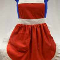 Vintage 50s Style Full Apron Pinny - Red with White Trim