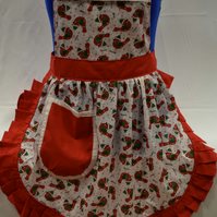 Vintage 50s Style Full Apron Pinny - Christmas Robins on White with Red Trim