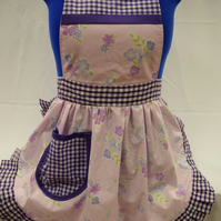 Vintage 50s Style Full Apron Pinny - Lilac Flowers with Purple Gingham Trim
