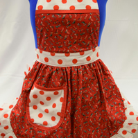 Vintage 50s Style Full Apron - Christmas Stockings on Red with Polka Dot Trim