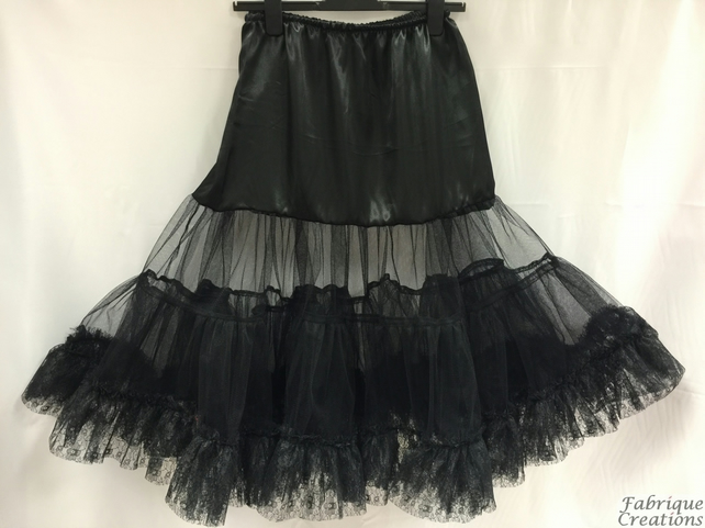 "Retro 50s Style Rockabilly Dress Petticoat Skirt - Black - XL 18-20 - 26"" Long"