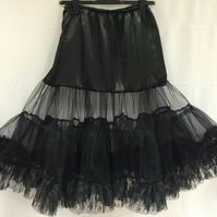 "Retro 50s Style Rockabilly Dress Petticoat Skirt - Black - XXL 22-24 - 26"" Long"