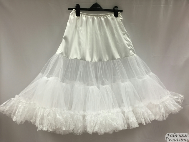 "Retro 50s Style Rockabilly Dress Petticoat Skirt - White - XXL 22-24 - 26"" Long"