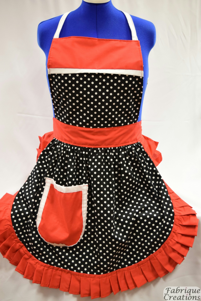 Vintage 50s Style Full Apron Pinny - Black & White Polka Dot with White Trim