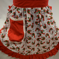 Retro Vintage 50s Style Half Apron Pinny - Christmas Robins on White with Red