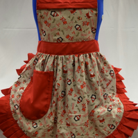 Vintage 50s Style Full Apron Pinny - Christmas Penguins on Grey with Red Trim