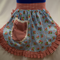 Vintage 50s Style Half Apron Pinny - Sky Blue with Strawberries with Gingham Tri