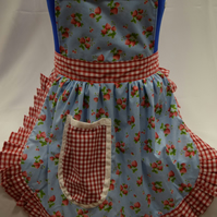 Vintage 50s Style Full Apron Pinny - Sky Blue with Strawberries with Gingham Tri