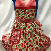 Vintage 50s Style Full Apron Pinny - Ivory & Red - Cherries with Gingham Trim