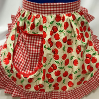 Vintage 50s Style Half Apron Pinny - Ivory & Red - Cherries with Gingham Trim