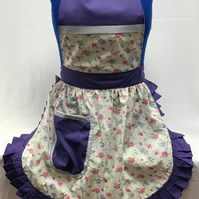 Vintage 50s Style Full Apron Pinny - Ivory with Pink & Purple Flowers & Purple