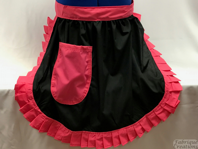 Vintage 50s Style Half Apron Pinny - Black with Pink Trim