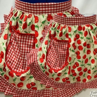 Mum & Daughter Matching Set - Retro 50s Style Half Aprons - Ivory & Red Cherry