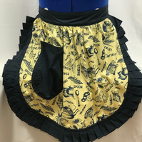 Vintage 50s Style Half Apron Pinny - Yellow Kitchem Theme with Navy Trim