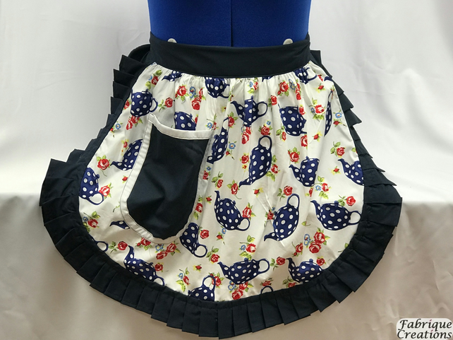 Vintage 50s Style Half Apron Pinny - Navy & White Teapots (Polka Dot) on White