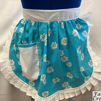 Vintage 50s Style Half Apron Pinny - Turquoise (Daisies) with White Trim