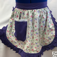 Vintage 50s Style Half Apron Pinny - Ivory with Pink & Purple Flowers and Purple
