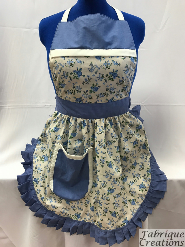 Vintage 50s Style Full Apron Pinny - Cream (Flowers) & Cornflower Blue Trim