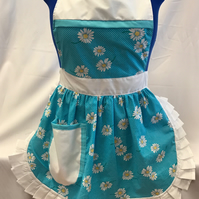 Vintage 50s Style Full Apron Pinny - Turquoise (Daisies) with White Trim