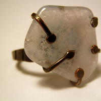 Blue Lace Agate Patinated Cold Forged Copper Ring size N.