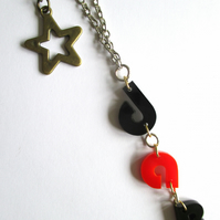 'Dab star' necklace in red and black laser cut acrylic