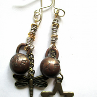 'CAF' Sheffield Graffiti inspired earrings, handmade. Be Bold!