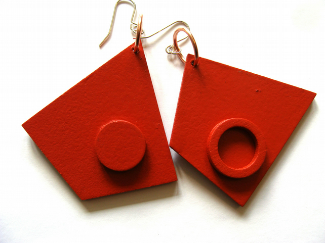 Red Wedge Circle Abstract earrings