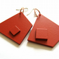 Red Wedge Square Abstract earrings