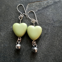 Fresh Green Heart Beaded Earrings