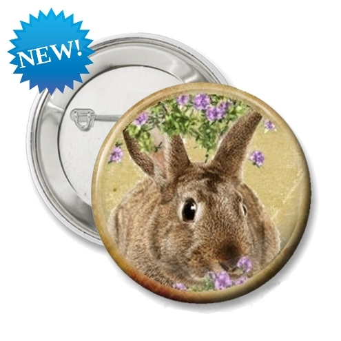 45mm Rabbit Pin Badge - 6 different Rabbits to choose from