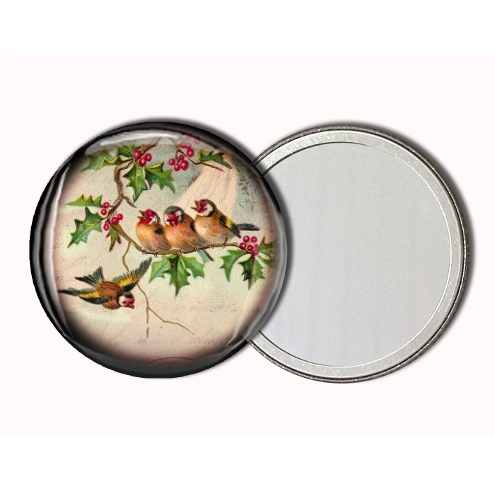 Beautiful 58mm Flora and Fauna Pocket Mirror with pouch - 12 different designs