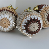 3 Crocheted Christmas Baubles