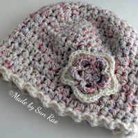 Child's Crochet Hat with Flower (6-12 months)