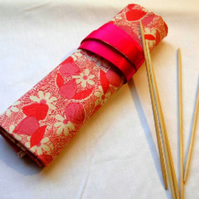 Knitting  DPN Roll-Red Flower
