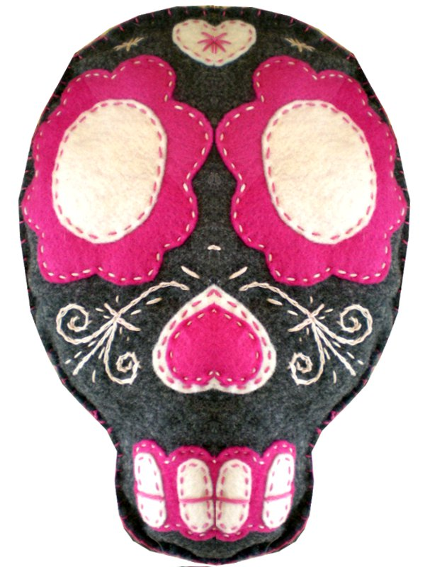 Pink and Grey Sugar Skull Cushion