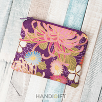 Purple Japanese Floral Print Coin Purse