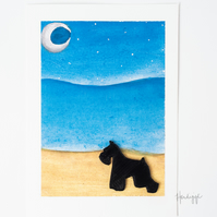 Scottie Dog on the Beach blank A5 card