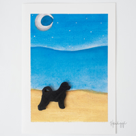 Dog on the Beach blank A5 card