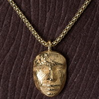 Custom Made  Life Mask 14k Yellow Gold Pendant Charm